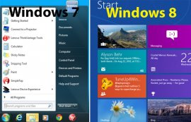 Windows 7 Start Menu vs Windows 8 Start Screen